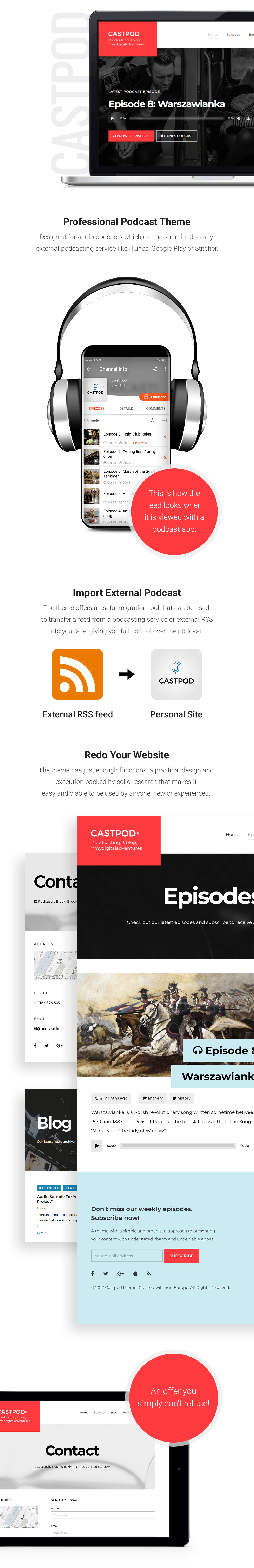 Castpod is a professional WordPress theme designed for audio podcasts, which can be submitted on any external podcasting service like iTunes, Google Play or Stitcher.