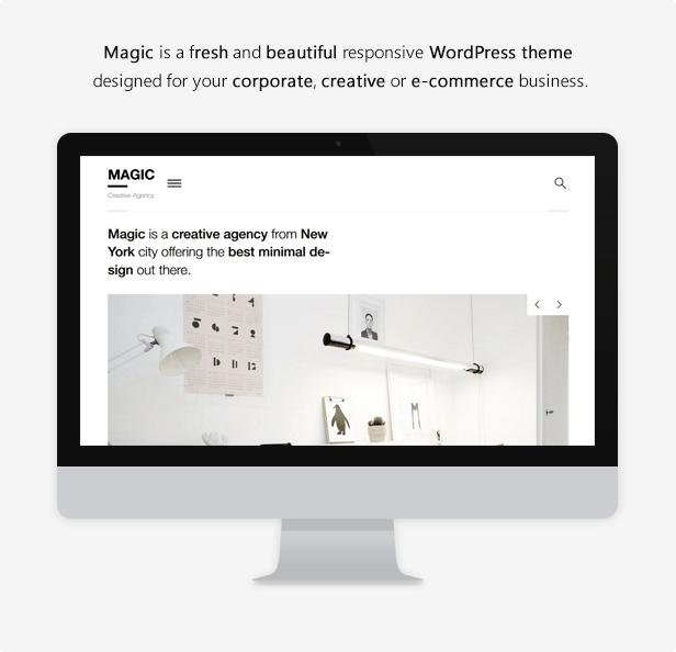 Magic is a fresh and beautiful responsive WordPress theme designed for your your corporate, creative or e-commerce business.  Download Magic – A Creative Portfolio & Ecommerce WordPress Theme nulled magic theme description