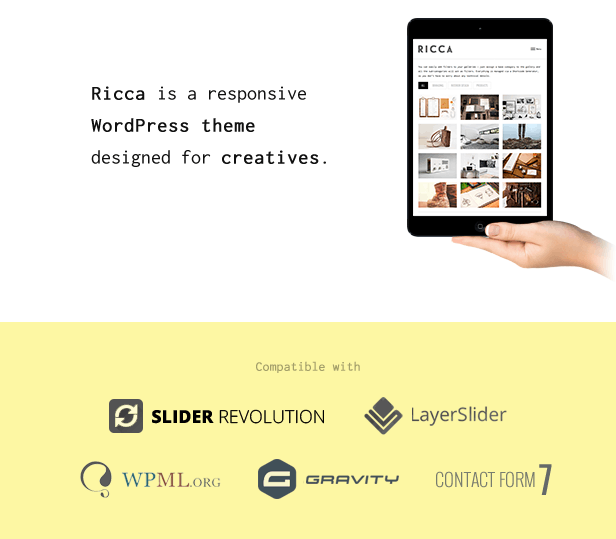 Ricca is a fresh and beautiful responsive WordPress theme designed for creatives.